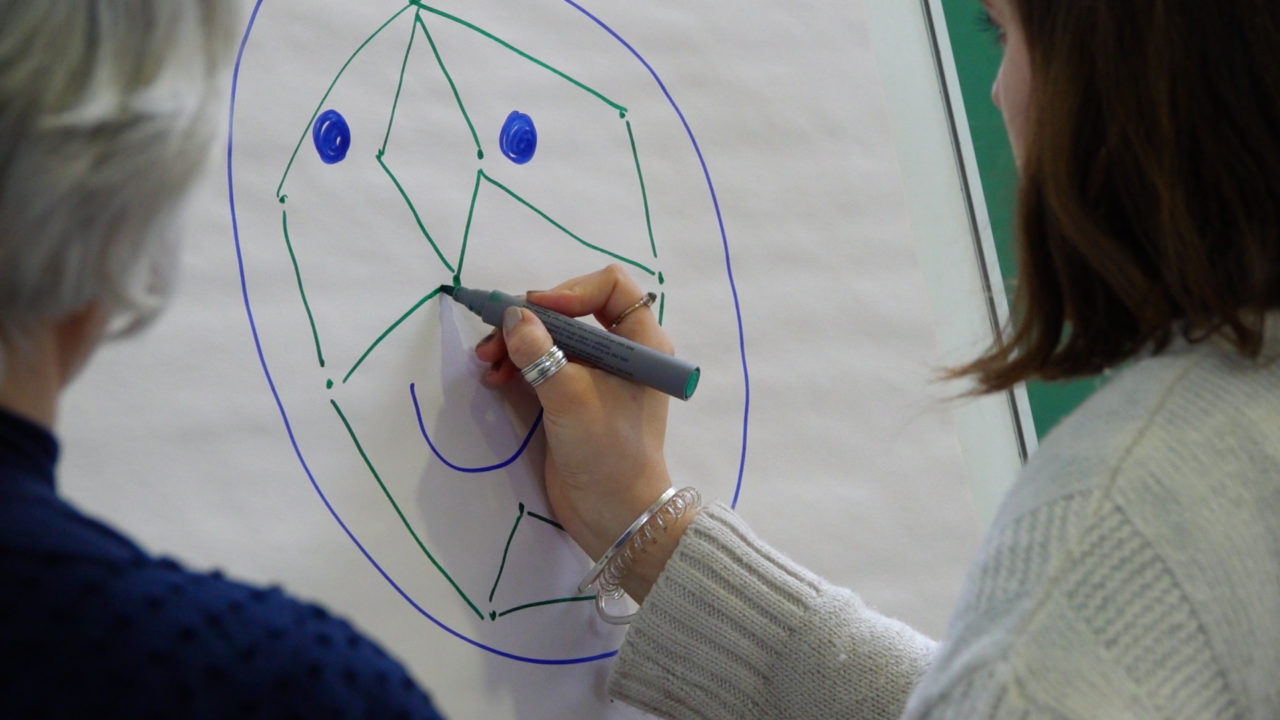 Woman drawing facial recognition technology on a flipchart