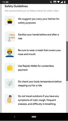 Screenshot of the Rapido app instructing drivers to monitor their temperature and stay in if symptoms occur.