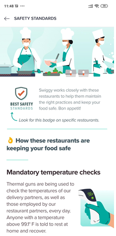 Screenshot of the Swiggy app outlining safety guidelines including mandatory temperature checks